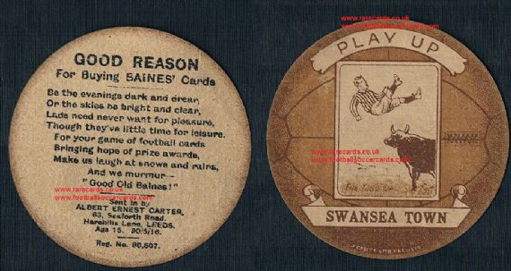 1916 Swansea City 1st ever card Swans Town Baines trade card